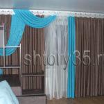 коричневые шторы для зала