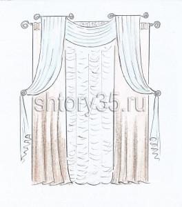 Эскизы штор для зала