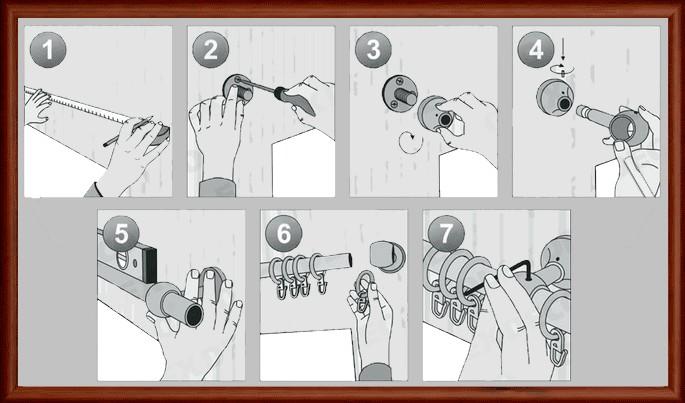 Инструкция, как установить круглый настенный карниз.